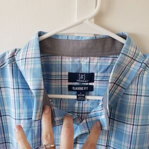 George Classic Fit Plaid Collared Shirt L